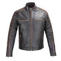Mens Antiqued Leather Old School Jacket Black FJ6