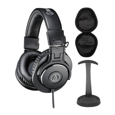 Audio-Technica ATH-M30X Professional Headphones Bundle w/ Stand & Case