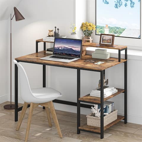Computer Desk with Monitor Stand and Shelf, Study Table Writing Desk