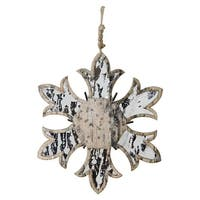 "6.5"" Nature's Luxury Wooden Mirrored Snowflake Christmas Ornament"