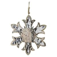"6.5"" Wooden Mirrored Snowflake Christmas Ornament - silver"