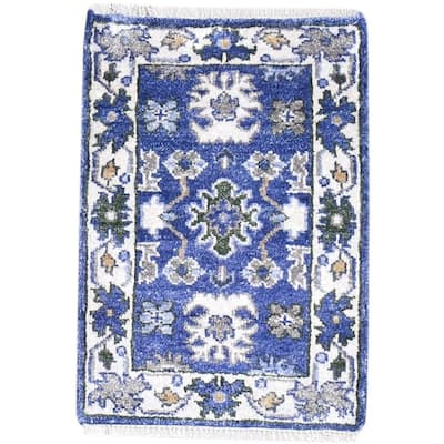 One of a Kind Hand-Knotted Persian 2' x 3' Oriental Wool Blue Rug - 2' x 3'