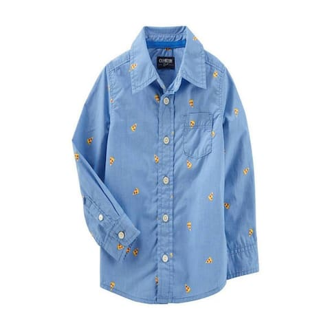 OshKosh B'gosh Big Boys' Button Front Shirt - Pizza Print - 8 Kids