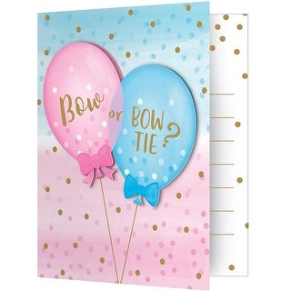 4 x 5 in. Gender Reveal Balloons Invitations, 8 Count