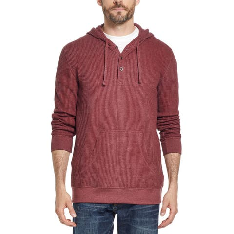 Weatherproof Mens Sweater Red Size Large L Hooded Waffle Knit Pullover