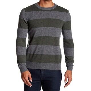 Qi NEW Green Gray Mens Size 2XL Striped Crewneck Cashmere Sweater