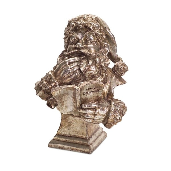 """Pack of 2 Santa Bust Reading a """"Merry Christmas"""" Book Table Top Figure 14.5"""""""
