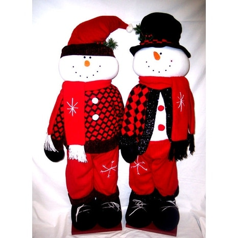 Shop 36 Inch Checkered Snowman Standing Greeters 2 Piece