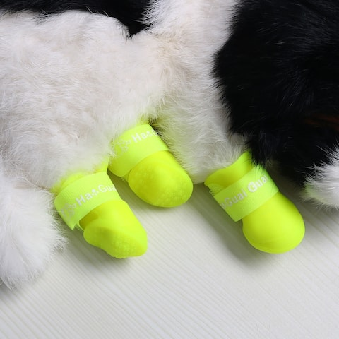 Dog Rain Shoes Pet Boots Water Wear Resistant Anti-slip for Dog Outdoor Running Shoes Paw Protectors Yellow 4 Pcs, L