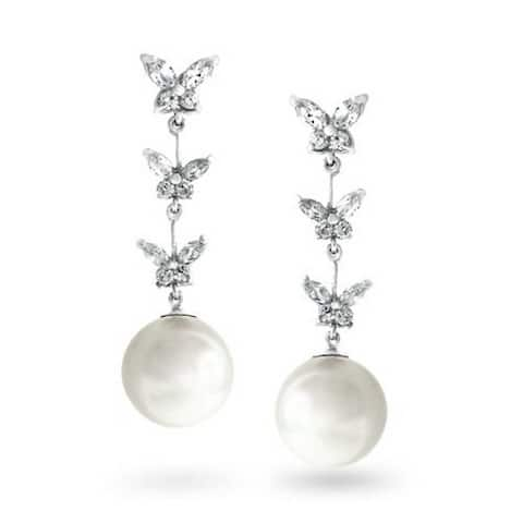 Bridal Prom White Butterfly CZ Dangle Imitation Pearl Earrings Silver Plated