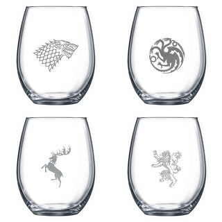 Game of Thrones Stemless Wine Glasses - Set of 4