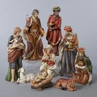 9-Piece Classical Porcelain Christmas Nativity Figure Set - multi