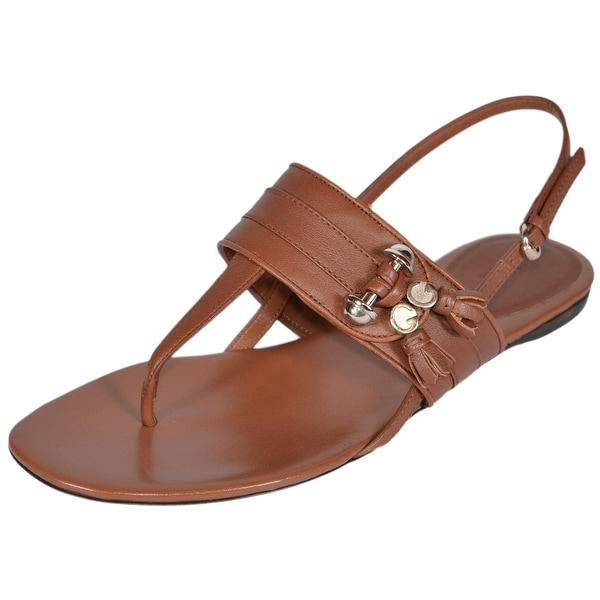 Gucci 338780 Brown Leather GG Tassel T Strap Sandals Shoes 36.5 6.5