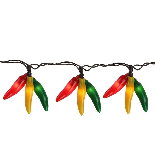 Set of 36 Red, Yellow & Green Chili Pepper Cluster Christmas Lights - Brown Wire