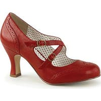 Pin Up Couture Women's Flapper 35 Mary Jane Red Faux Leather