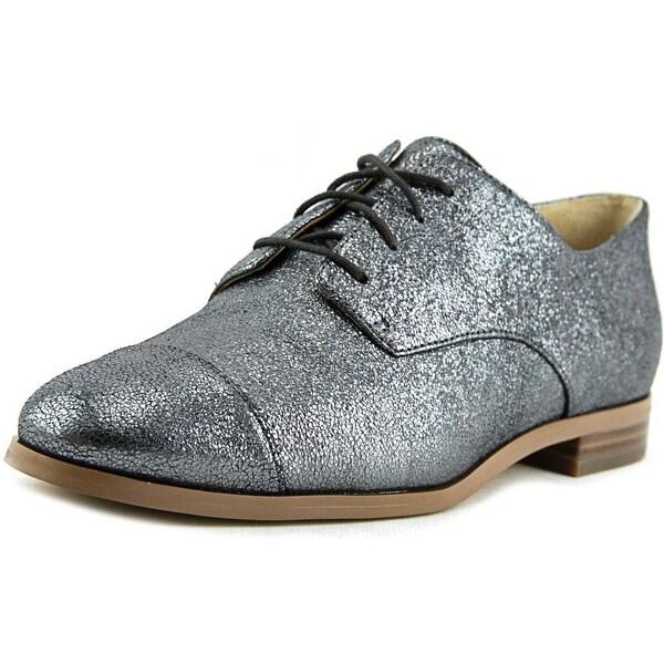 Michael Michael Kors Pierce Lace Up Women  Cap Toe Leather Silver Oxford
