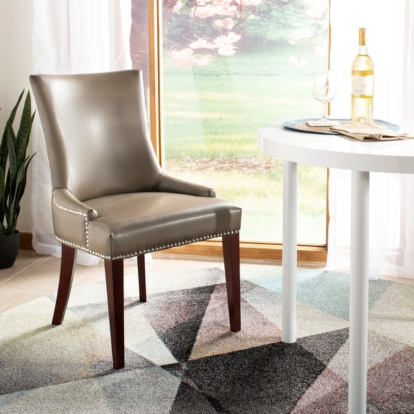"""SAFAVIEH Dining Parsons Becca Grey Leather Dining Chair - 22"""" x 24.8"""" x 36.4"""". Opens flyout."""