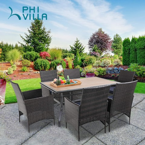 """PHI VILLA Dining Set of 7 Wicker Chairs and Wood Top Table with 1.56"""" Umbrella Hole and Steel Frame"""