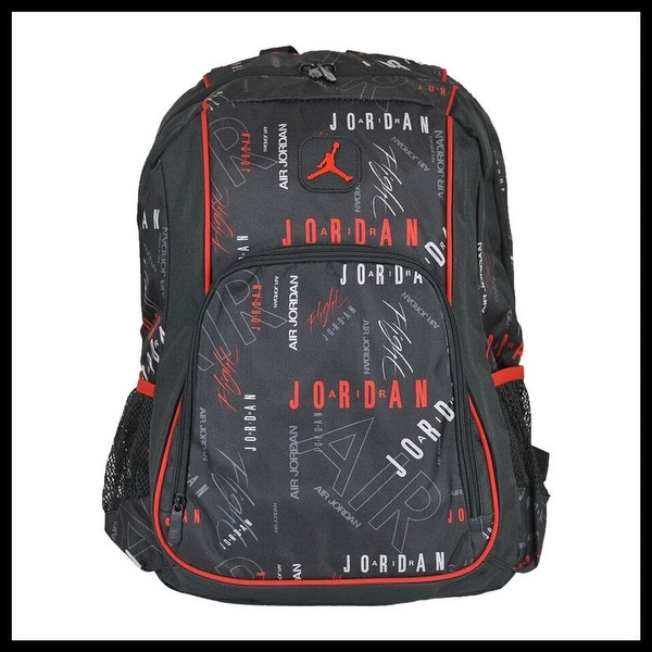 fc7ff2f374dc Nike Air Jordan Jumpman Signature Logo Black  amp  Red Print School Backpack