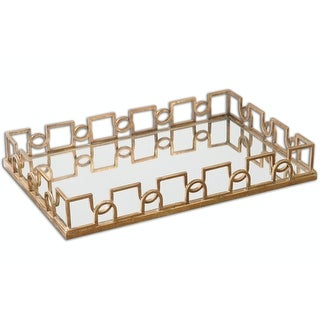 """27"""" Adeline Forged Iron and Brass Patina Decorative Mirrored Tray - Gold"""