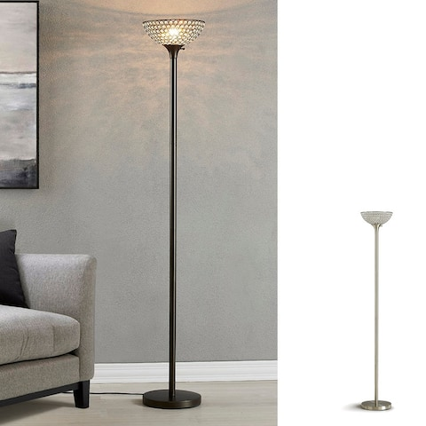 """HOMEGLAM Lucie 71"""" Crystal Shade Torchiere Floor Lamp"""