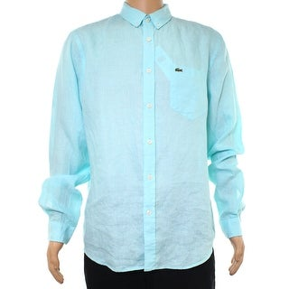 Lacoste Eden Green Men Size Small S (FR 38) Button Down Linen Shirt