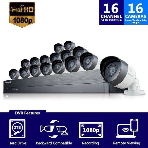 SDH-C75100-16 - Samsung 16 Channel 1080p HD 2TB Security System SDH-C75100 with 6 additional cameras