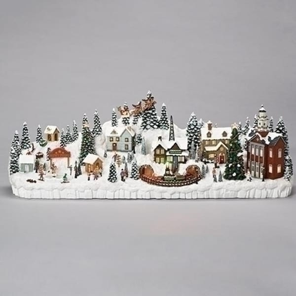 "11"" Musical LED Revolving Mantlepiece Village Christmas Decoration"