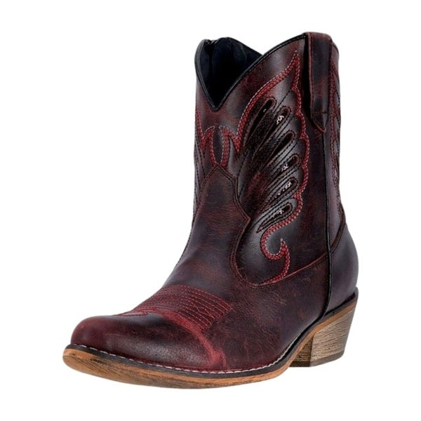 Dingo Western Boots Womens Flat Bush Low Walking Heel Red DI 726