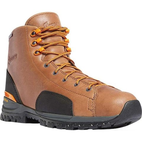 "Danner Men's Stronghold 6"" Non-Metallic Toe Work Boot Brown Full Grain Leather"