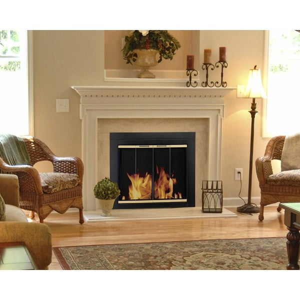 Pleasant Hearth AR-1020 Arrington Fireplace Screen and Bi-Fold Track-Free Glass Doors, Small - Black and Gold Powder Coated