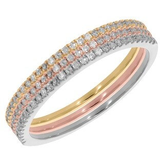 Prism Jewel 0.45 TDW Round G-H/I2 Natural Diamond Set of 3 Tri-Color Gold Band