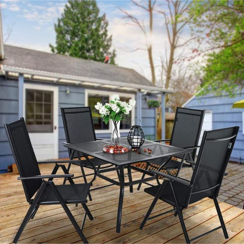 PHI VILLA Sling Fabric/ Powder-coated Steel 5-piece Dining Set