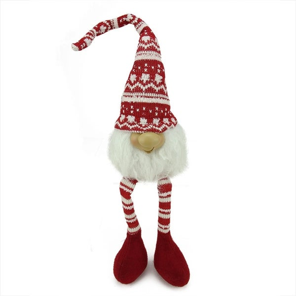 """21.5"""" Red and White Portly Smiling Hanging Leg Gnome Decoration with Christmas Snow Cap"""