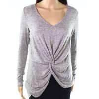Soprano Heather Gray Womens Size XS Twist-Detail Hi-Low Knit Top