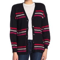 Democracy Black Striped Women's Size Large L Cardigan Sweater