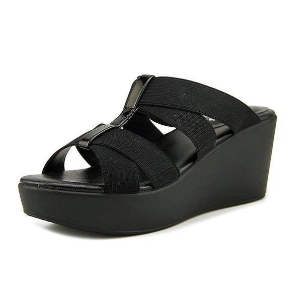 Charles By Charles David Jonas Women Open Toe Canvas Black Wedge Sandal