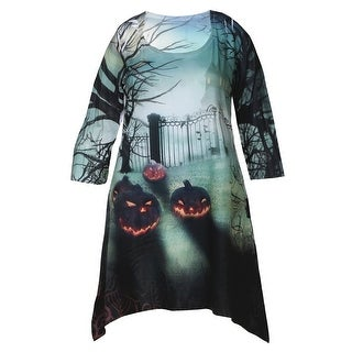 Women's Halloween Tunic Top - Graveyard Print Long Shirt - Sharkbite Hem