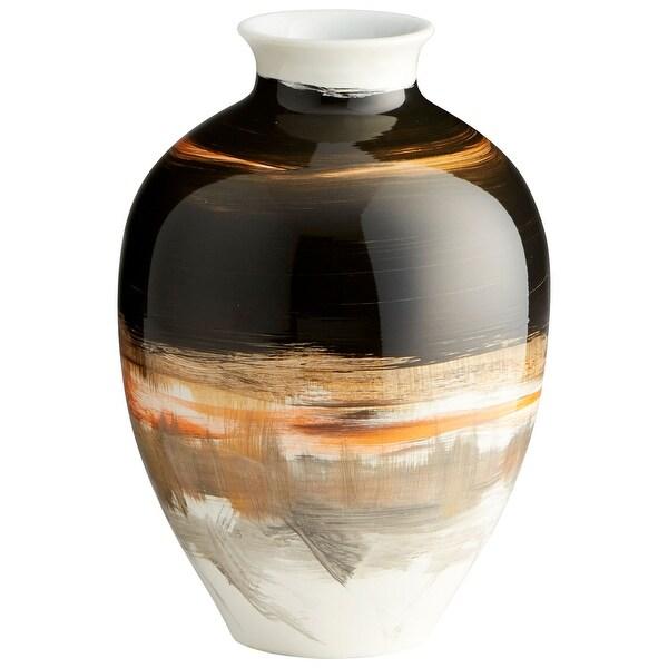 """Cyan Design 09880 Indian Paint Brush 6-1/2"""" Diameter Ceramic Vase - Black / Cream Gradient"""