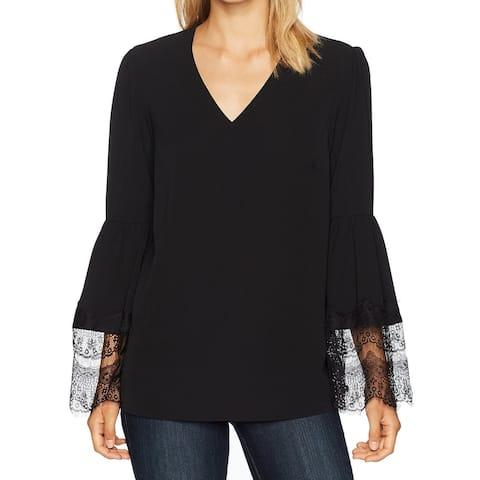 Nine West Black Womens Size Medium M Lace Bell-Sleeve Crepe Blouse