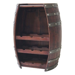 Wine Barrel 9 Bottle Table Wine Holder W/ Glass Racks - 24 X 18.25 X 11.25 inches