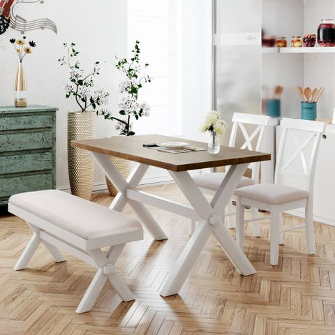 4 Pieces Farmhouse Rustic Wood Kitchen Dining Table Set with Upholstered 2 X-back Chairs and Bench