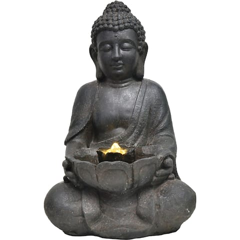 Hanover 18-In. Buddha Statue Indoor or Outdoor Garden Fountain with LED Lights for Patio, Deck, Porch