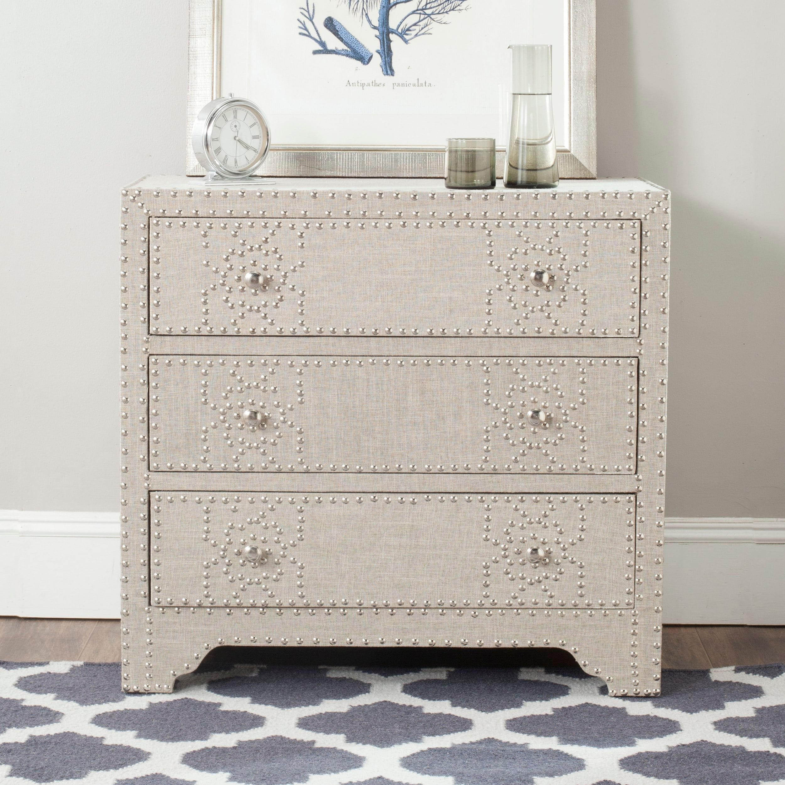Safavieh Gordy Grey 3 Drawer Chest Silver Nailhead Overstock 14430273