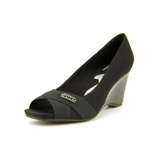 Anne Klein Perlie Women Open Toe Canvas Black Wedge Heel