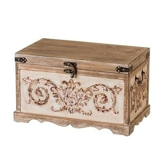 """11.5"""" H Trunk Chest Versailles Collection - brown"""