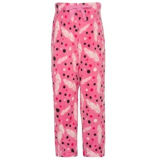 Little Girls Fuchsia White Feather Print Adjustable Waist Pajama Pants 6X