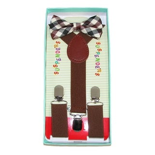 CTM® Infant or Kids' Rustic Brown Plaid Bow Tie and Suspender Set - One Size