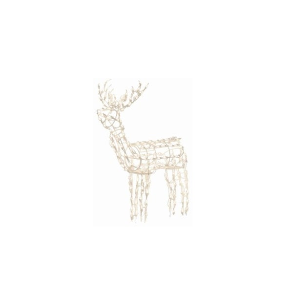 48 lighted and animated standing buck deer christmas outdoor decoration clear lights - Animated Lighted Reindeer Christmas Decoration