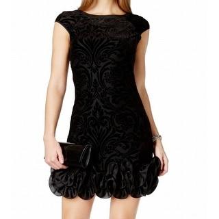 Jessica Simpson NEW Black Women's Size 12 Sheath Flocked Ruffle Dress